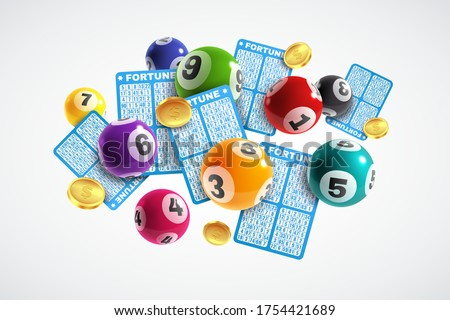 Lottery banner. Realistic lottery tickets and drawing balls with numbers, lucky instant win, lotto game, jackpot internet leisure gambling vector concept