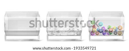 Lottery drums with raffle paper tickets, balls and empty lucky wheel side view. Plastic rotate tote of hexagon shape isolated on white background, transparent sweepstake. Realistic 3d vector sweep set