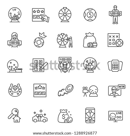 Lottery, icon set. Prize playing, lottery tickets and raffle drum, linear icons. Keno. Line with editable stroke