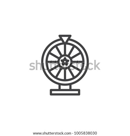 Lottery line icon, outline vector sign, linear style pictogram isolated on white. Casino roulette symbol, logo illustration. Editable stroke
