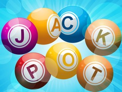 lottery or bing balls spelling the word 'jackpot' on a starburst blue background