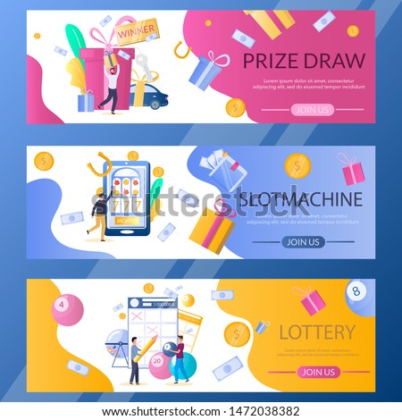 Lottery, Slot machine and Prize draw web banner template set, vector illustration. Lucky people playing slots and bingo, keno, lotto lottery games, taking part in prize drawing. Gambling industry.