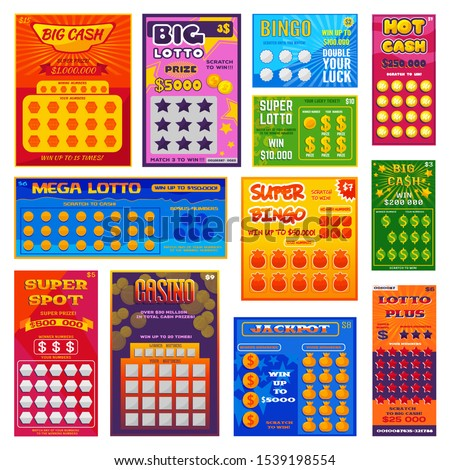Lottery ticket vector lucky bingo card win chance lotto game jackpot ticketing set illustration lottery gaming tickets isolated on white background.
