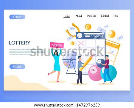 Lottery vector website template, web page and landing page design for website and mobile site development. People filling out lottery tickets, raffle drum, balls with lucky numbers. Bingo keno lotto.
