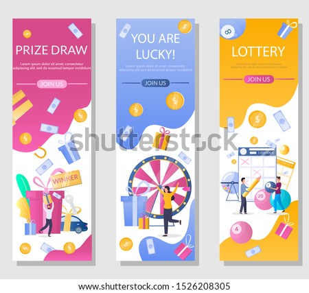 Lottery vertical web banner template set, vector illustration. People playing bingo, keno, lotto lottery games, taking part in prize drawing. Gambling industry.