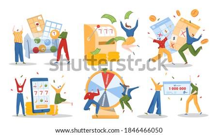 Lottery winner people vector illustration set. Cartoon flat lucky happy man woman characters win million jackpot in lottery or slot machine, millionaire winning prize gift money, isolated on white