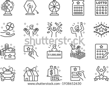 Lotto line icon set. Included the icons as lottery, raffle, draw, jackpot, rich, and more.