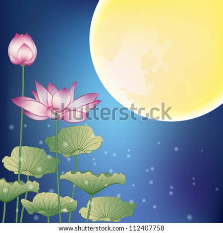 Lotus and Moon at Night, The Mid-Autumn festival