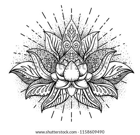 Lotus and Sacred Geometry. Ayurveda symbol of harmony and balance, and universe. Tattoo flesh design, yoga logo. Boho print, poster, t-shirt textile. Anti stress book. Isolated vector illustration.