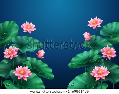 Lotus flower background. Plant with leaves and water drops. Floral pink blossom or nature decoration for banner. Egyptian bean or Indian, sacred lotus. Macau symbol. Asian flora. Botany ornament