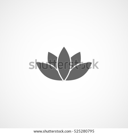 Lotus Flower Flat Icon In White Background