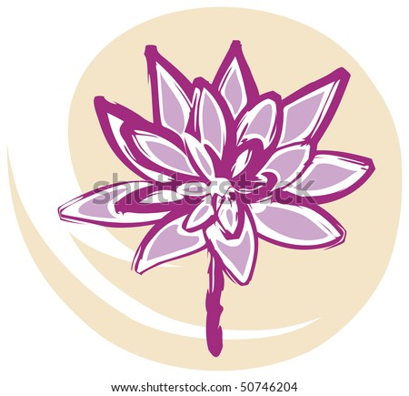 stock vector Lotus Flower in Pink on Yellow Background