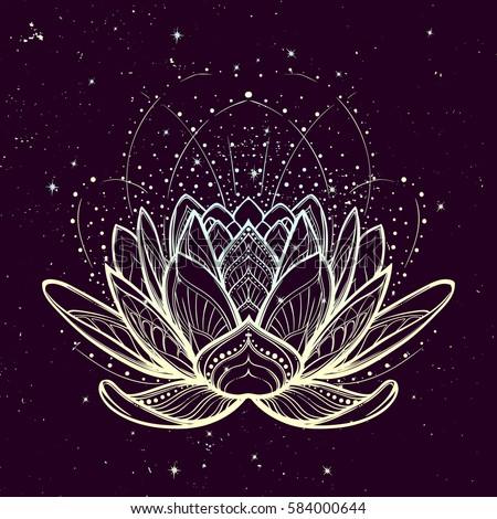 Ornamental Boho Style Lotus Flower Stock Photo 424023085 Avopixcom