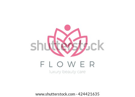 Lotus Flower Logo abstract Beauty Spa salon Cosmetics brand Linear style.\ Looped Leaves Logotype design vector Luxury Fashion template.
