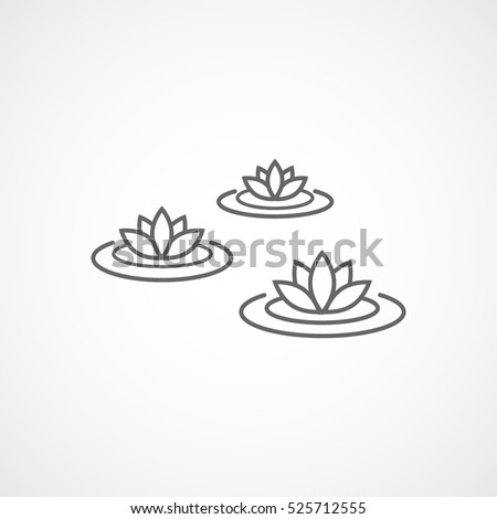 Lotus Flower On Water Line Icon On White Background