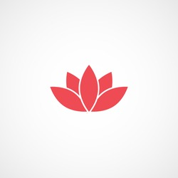 Lotus Flower Red Flat Icon On White Background