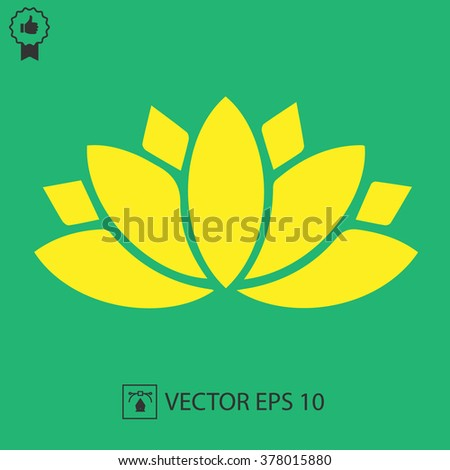 Lotus flower vector icon. Spiritual simple silhouette symbol.