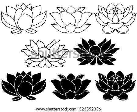 Lotus flowers download free vector art stock graphics images lotus flowers black and white silhouettes set of three vector hand drawn illustrations mightylinksfo Gallery