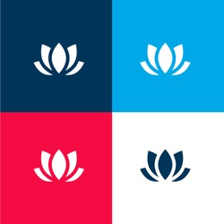 Lotus four color material and minimal icon logo set in red and blue