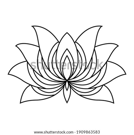 Lotus icon. Monochrome blooming flower. Hand drawn lotos flower illustration isolated on white background. Black linear petals of plant in coloring style Foto stock ©