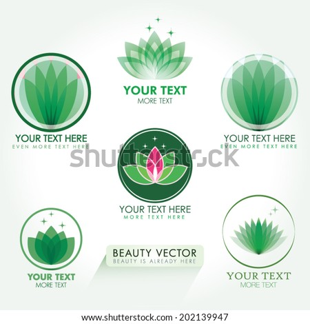 Lotus Icon set in green. Good for Beauty Industry, Beauty Salon, Med Spa, Alternative Medicine, Spa, Beauty, Spa Boutique, Yoga Club, Massage and Recreation, Shiatsu, Natural Healing, Acupuncture
