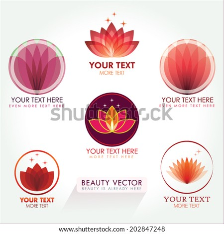 Lotus Icon set in Red. Good for Beauty Industry, Beauty Salon, Med Spa, Alternative Medicine, Spa, Beauty, Spa Boutique, Yoga Club, Massage and Recreation, Shiatsu, Natural Healing, Acupuncture