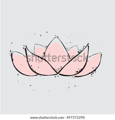 lotus icon. Simple illustration for design and print on a T-shirt. lotus doodle. lotus graphic. lotus decoration. lotus vector. lotus symbol. lotus logo. lotus art. lotus design. lotus grunge