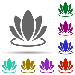 Lotus in multi color style icon. Simple glyph, flat vector of world religiosity icons for ui and ux, website or mobile application