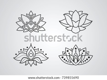 lotus outline icons set