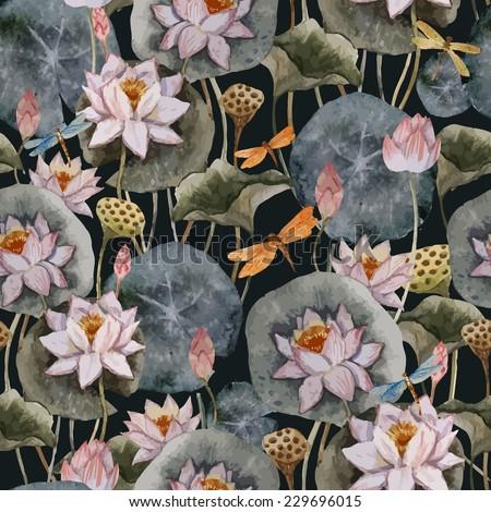 lotus  pattern  watercolor