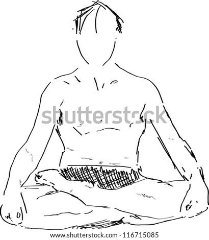 lotus pose of yoga man hand drawn sketch vector