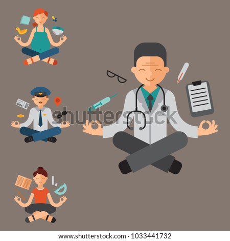 Lotus position yoga pose meditation art relax people relax isolated design concept character happiness vector illustration.