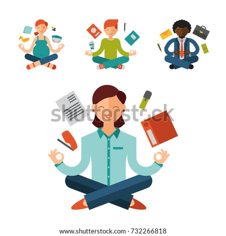 Lotus position yoga pose meditation art relax people relax isolated on white background design concept character happiness vector illustration.
