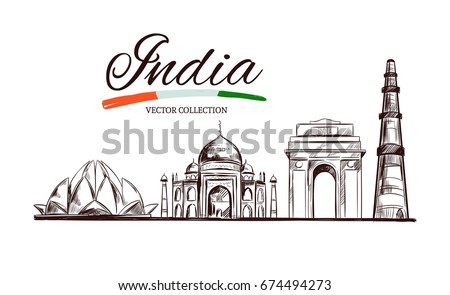Shutterstock Lotus temple. Taj Mahal. Gate of India. Kutb-Minar. The Heritage of India. Vector hand drawn illustration. Sketch style. Concept. Template