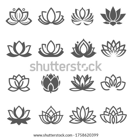 Lotuses, nelumbos black line and bold icons set isolated on white. Blooming flowers pictograms collection. Yoga, ayurveda sacred symbol logos. Blossom, aquatic plant vector elements for web. Foto stock ©