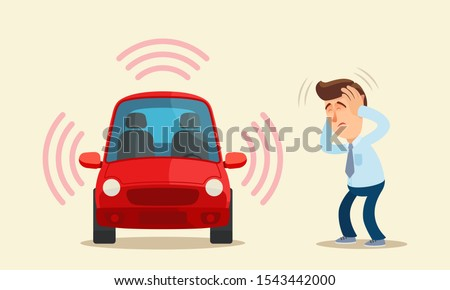 Loud car alarm terrorize people. Auto alarm signal disturbs people and prevents sleep. Loud car music. Stressed man covered ears with hands. Vector illustration flat cartoon style. Isolated background