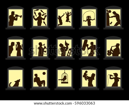 Free neighbors vector download free vector art stock graphics loud neighbors making noise behind soundproof windows at night isolated vector illustration on black background altavistaventures Image collections