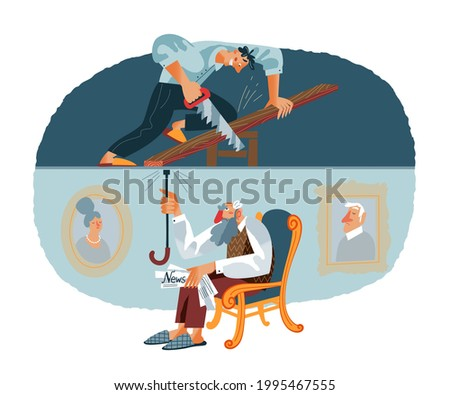 Loud noisy neighbour doing construction work and old man distracted from reading. Problems in neighbouring apartments at home vector illustration. Young man with saw, annoyed guy knocking on ceiling. ストックフォト ©