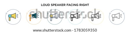 Loud speaker facing right icon in filled, thin line, outline and stroke style. Vector illustration of two colored and black loud speaker facing right vector icons designs can be used for mobile, ui,