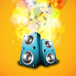 Loud speakers with musical notes yellow background.