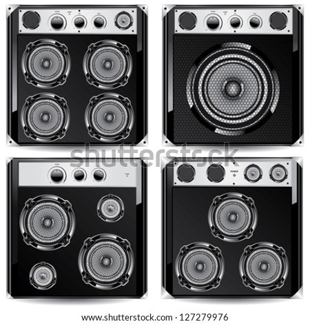 Loudspeaker acoustic system. Isolated on white background