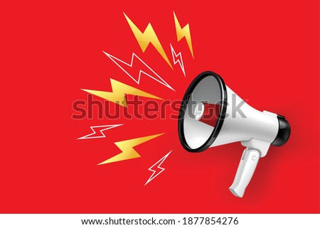 Loudspeaker and megaphone with lightings on red background realistic vector illustration Photo stock ©