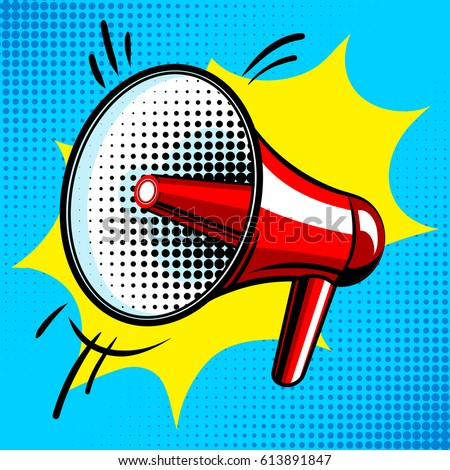 Loudspeaker comic book pop art retro style vector illustration
