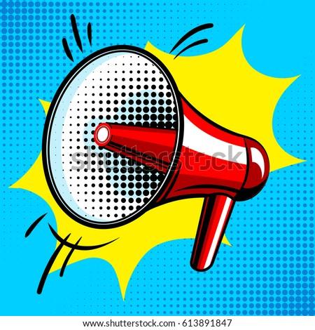 Loudspeaker comic book pop art retro style vector illustration