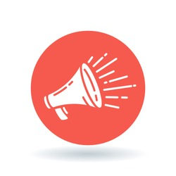 Loudspeaker icon. Megaphone sign. Announcement symbol. White icon on red circle background. Vector illustration.