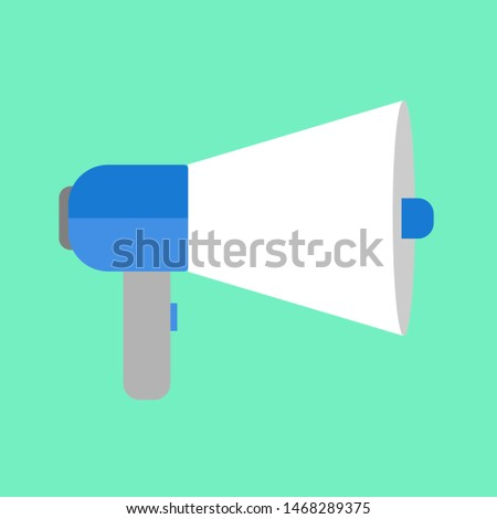 loudspeaker icon vector, Announcement flat design symbol style  on green background. Can be used in web and mobile.