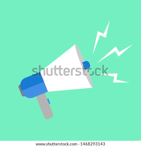 loudspeaker icon vector, Announcement flat design symbol style  on green background. Can be used in web and mobile - vector