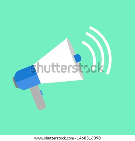 loudspeaker icon vector, Announcement flat design symbol style  on green background. Can be used in web and mobile - vector illustration