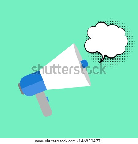 loudspeaker icon vector, Announcement flat design symbol style  on green background with cloud speech bubble. Can be used in web and mobile