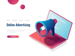Loudspeaker isometric icon, online internet advertising and promotion, smm Social Media Marketing, vector